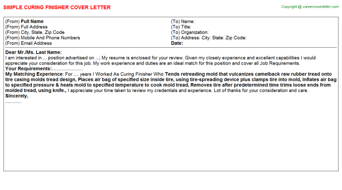Curing Finisher Cover Letter Template
