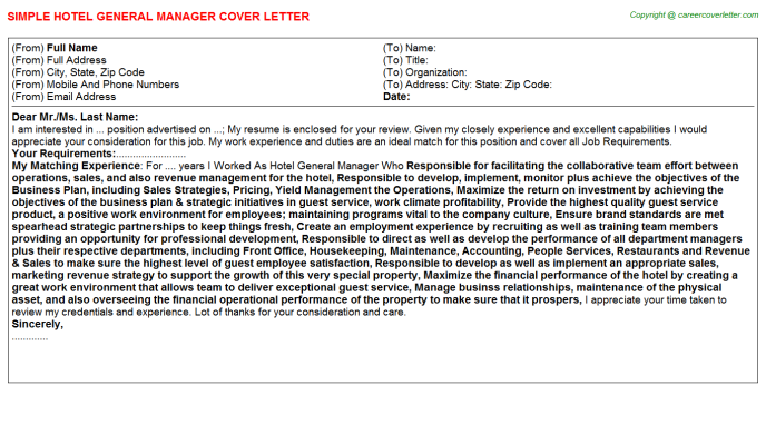 Hotel General Manager Cover Letter Template