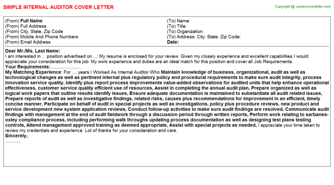 Internal Auditor Cover Letter Template