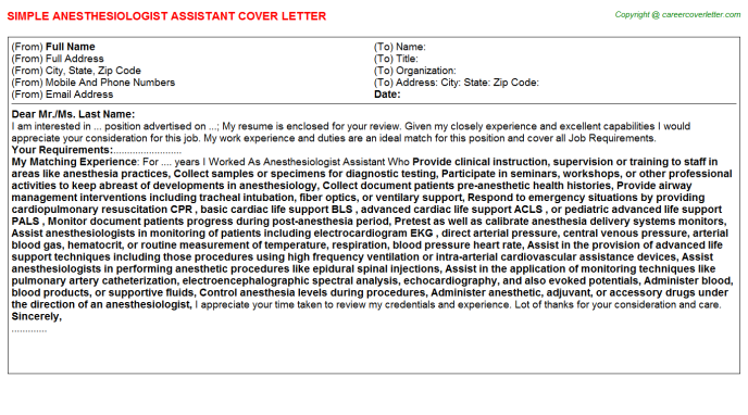 Anesthesiologist Assistant Job Cover Letter | Cover Letters