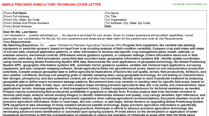 Precision Agriculture Technician Job Cover Letter