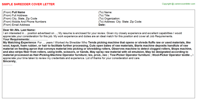 Shredder Cover Letter Template