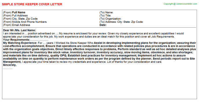 Store Keeper Cover Letter Template