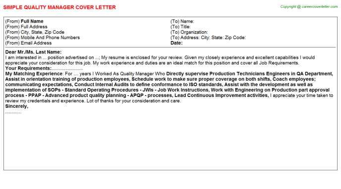 Quality Manager Cover Letter Template