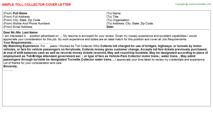 Toll Collector Job Cover Letter Example