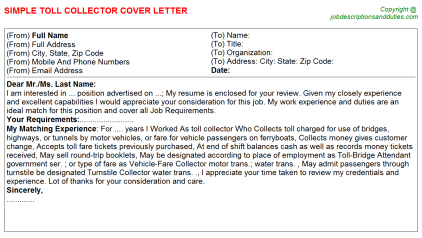 Toll Collector Job Cover Letter