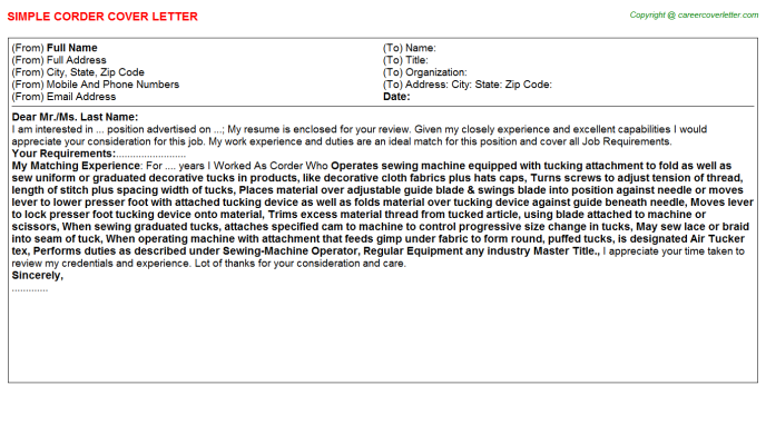 Corder Job Cover Letter Template