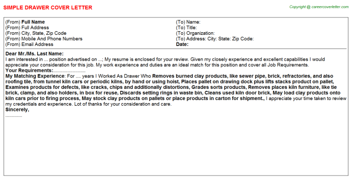 Drawer Cover Letter Template