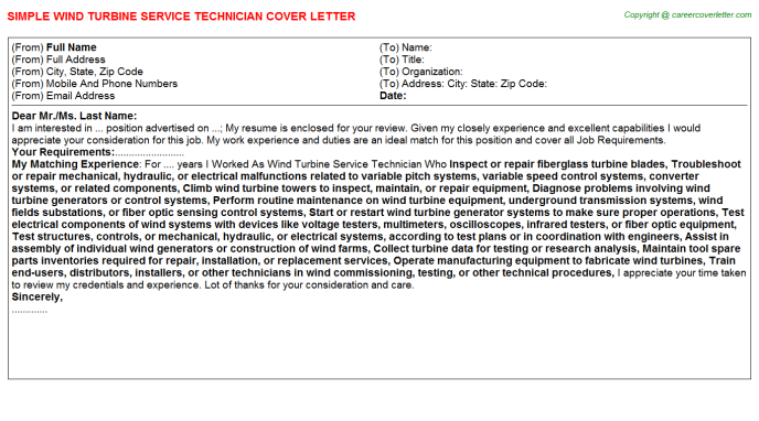 Wind Turbine Service Technician Cover Letter