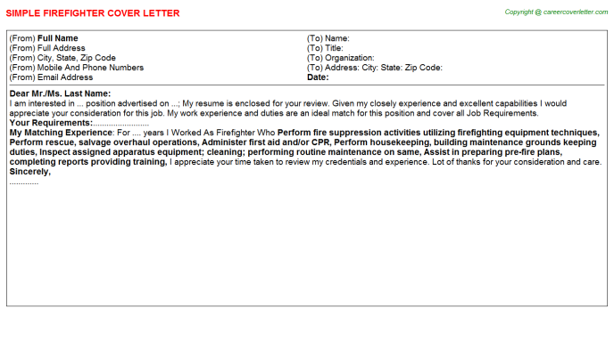 Firefighter Job Cover Letter Template