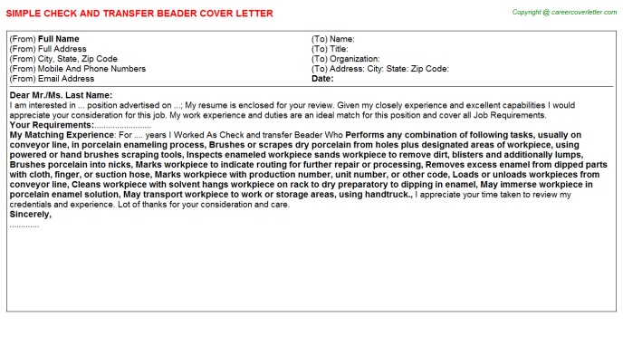 check and transfer beader cover letter template