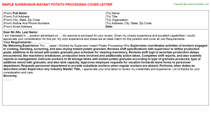 supervisor instant potato processing cover letter template