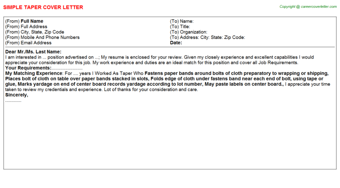 Taper Cover Letter Template
