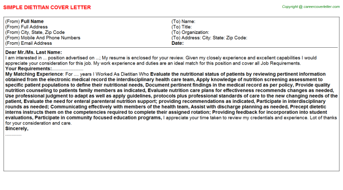 Dietitian Cover Letter Template