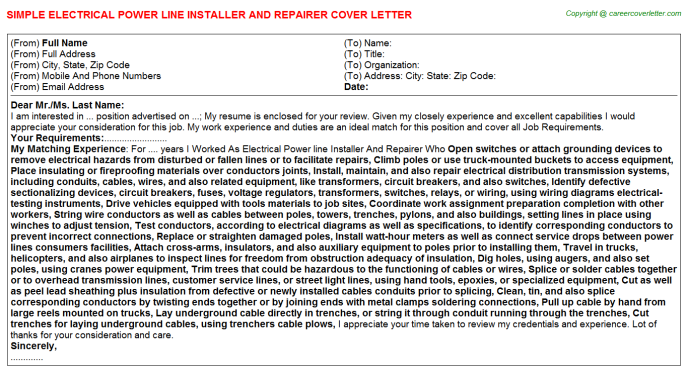 Electrical Power Line Installer And Repairer Job Cover Letter