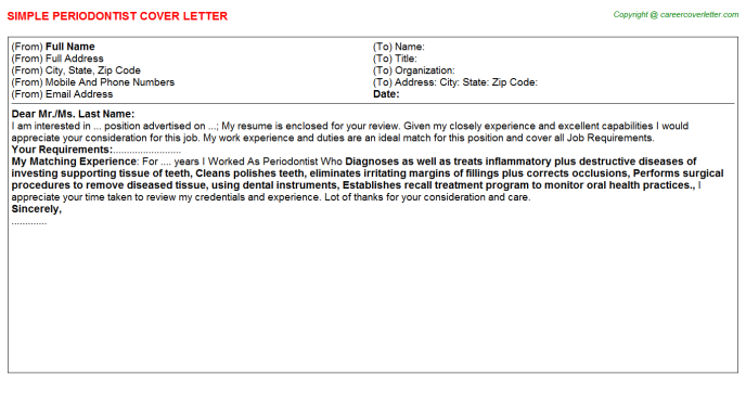 Periodontist Cover Letter Template