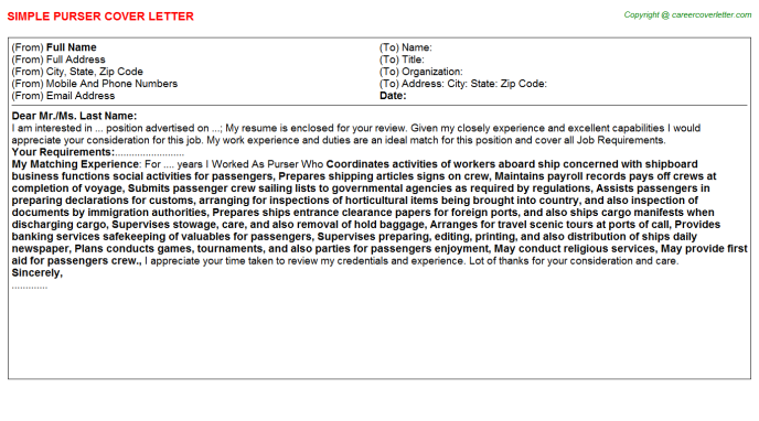 Purser Cover Letter Template