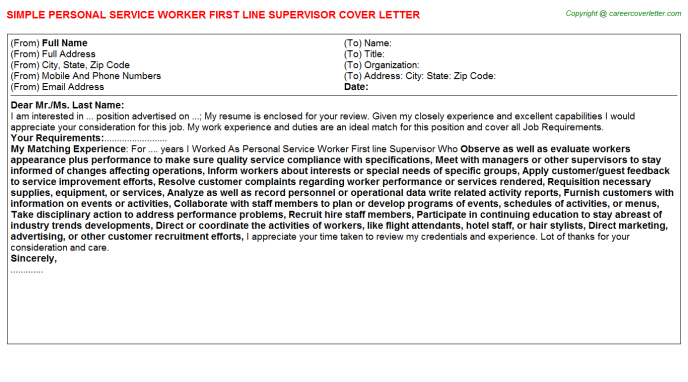 Personal Service Worker First line Supervisor Cover Letter Template