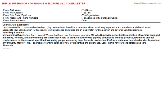 Supervisor Continuous weld pipe Mill Cover Letter Template