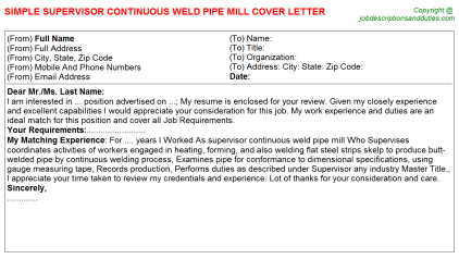 Supervisor Continuous weld pipe Mill Job Cover Letter Template