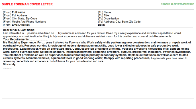 Foreman Job Cover Letter Template