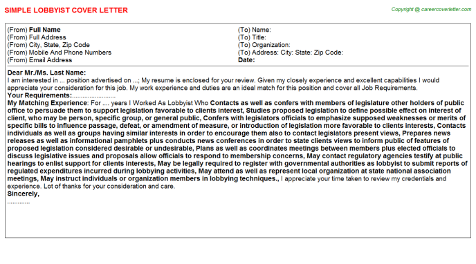 Lobbyist Job Cover Letter Template