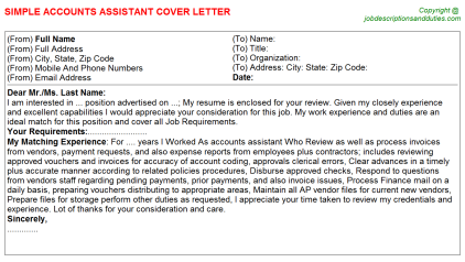 Accounts Assistant Job Cover Letter Template