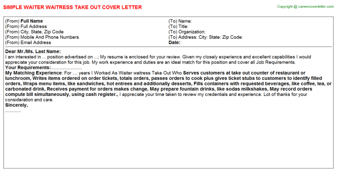 Waiter Waitress Take Out Cover Letter Template