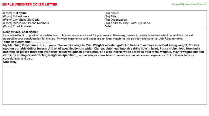 Weighter Cover Letter Template