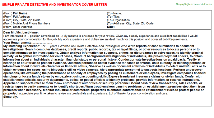Private Detective And Investigator Job Cover Letter