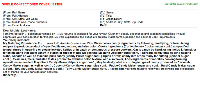 Confectioner Cover Letter Template