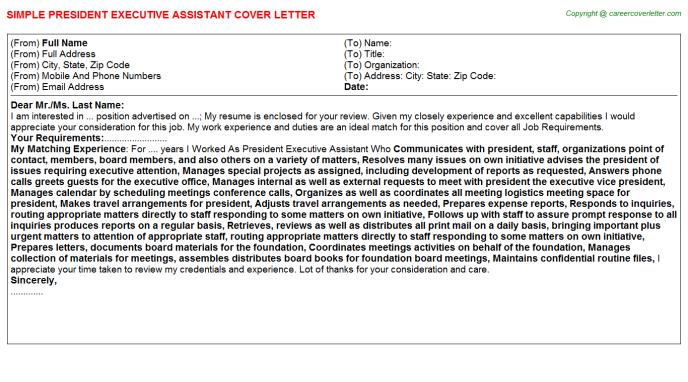 president executive assistant cover letter template