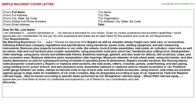 Machinist Cover Letter Template