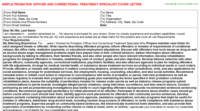 Probation Officer And Correctional Treatment Specialist Job Cover Letter Template