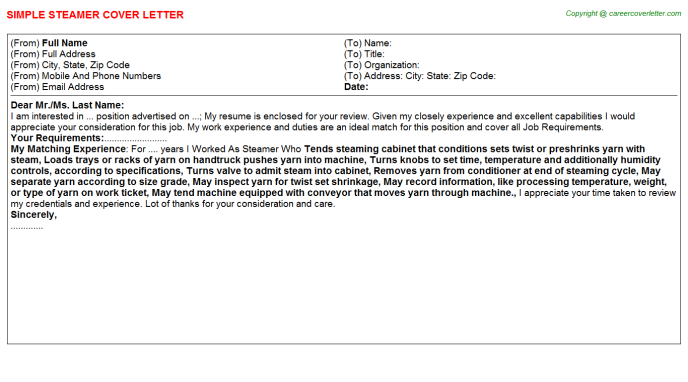 Steamer Cover Letter Template