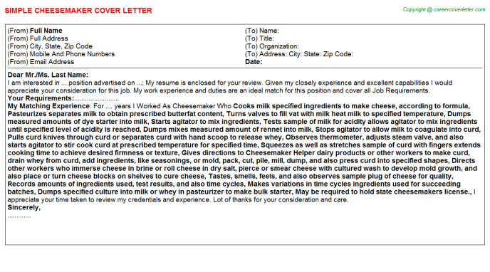 Cheesemaker Cover Letter Template