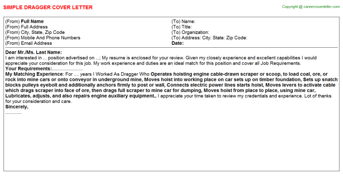 Dragger Cover Letter Template