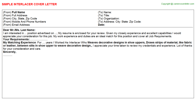 Interlacer Cover Letter Template