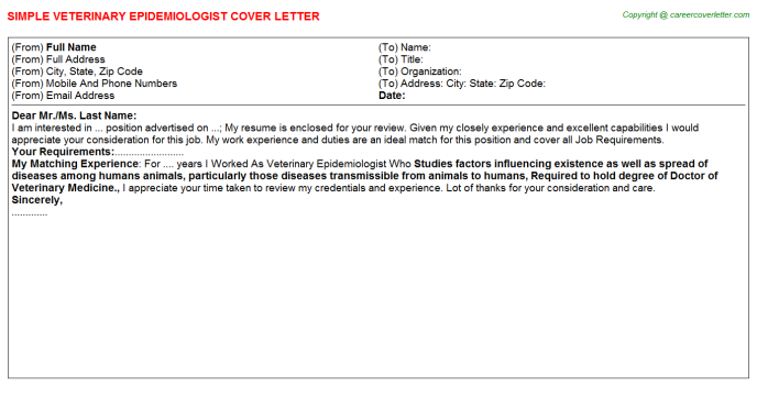 Veterinary Epidemiologist Cover Letters