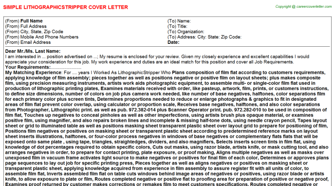 Lithographicstripper Job Cover Letter Template
