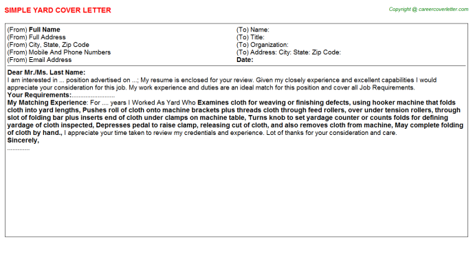 Yard Cover Letter Template
