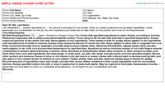 cheese cooker cover letter