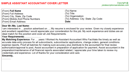 Assistant Accountant Job Cover Letter Template