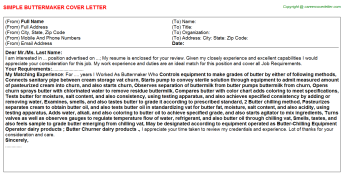 Buttermaker Cover Letter Template