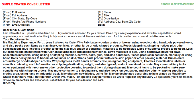 Crater Cover Letter Template