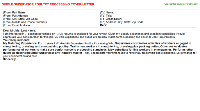 Supervisor Poultry Processing Cover Letter Template