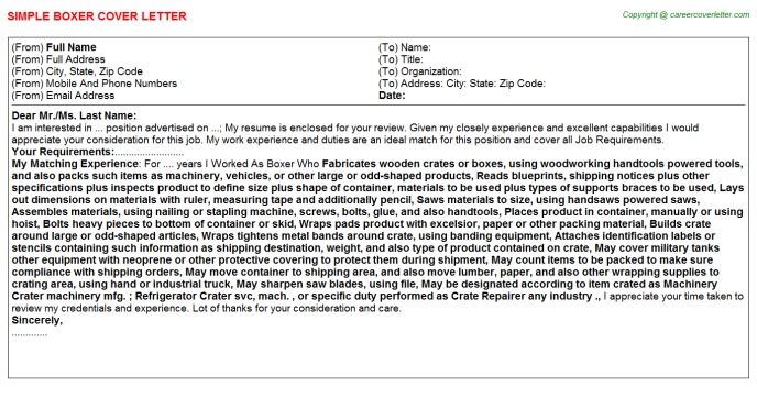 Boxer Cover Letter Template