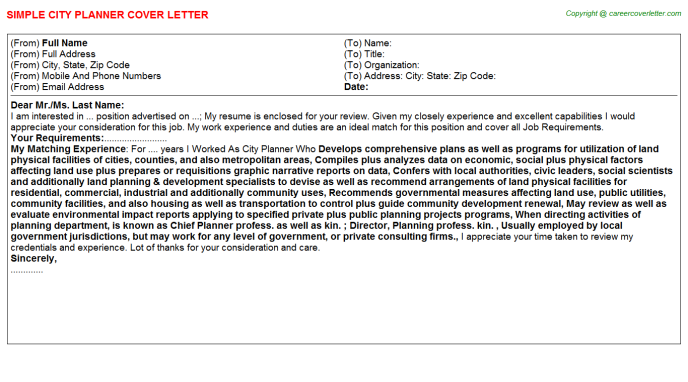 city planner cover letter template
