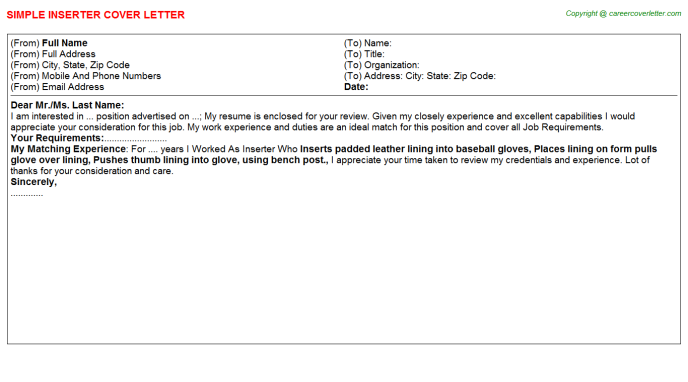 Inserter Job Cover Letter Template