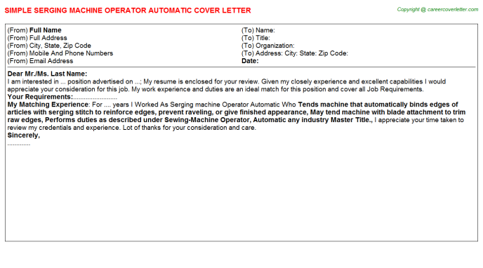 Serging Machine Operator Automatic Job Cover Letter Template